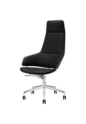 Office Chairs - Chair with castors - Fauteuil à roulettes Aston Syncro / Rembourré - Arper - Structure aluminium / Assise simili cuir noir - Aluminium, Polyuréthane, Similicuir