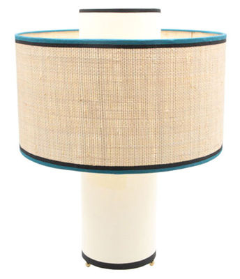 Luminaire - Lampes de table - Lampe de table Bianca / Coton & rabane - H 47 cm - Maison Sarah Lavoine - Ecru et rabane / Biais noir & bleu - Coton, Métal, Rabane