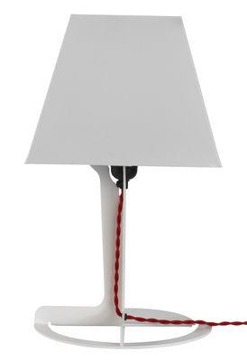 Leuchten - Tischleuchten - Fold Medium Tischleuchte - Established & Sons - Weiß / rotes Stromkabel - Tôle d'acier