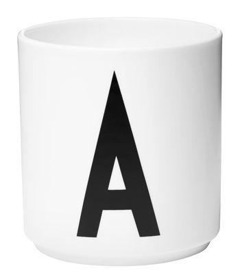 Mug Arne Jacobsen / Porcelaine - Lettre A - Design Letters blanc en céramique