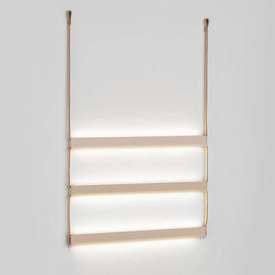 Ladder Light 3 Wandleuchte mit Stromkabel / LED - Metall & Leder - L 62 cm x H 80 cm - Woud - Nudepink