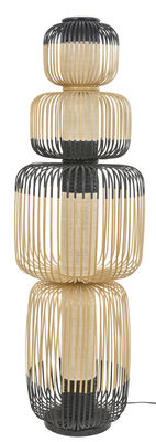 Luminaire - Lampadaires - Lampadaire Totem Bamboo Light / 4 abat-jours - H 138  cm - Forestier - H 138 cm / Noir & naturel - Bambou, Tissu