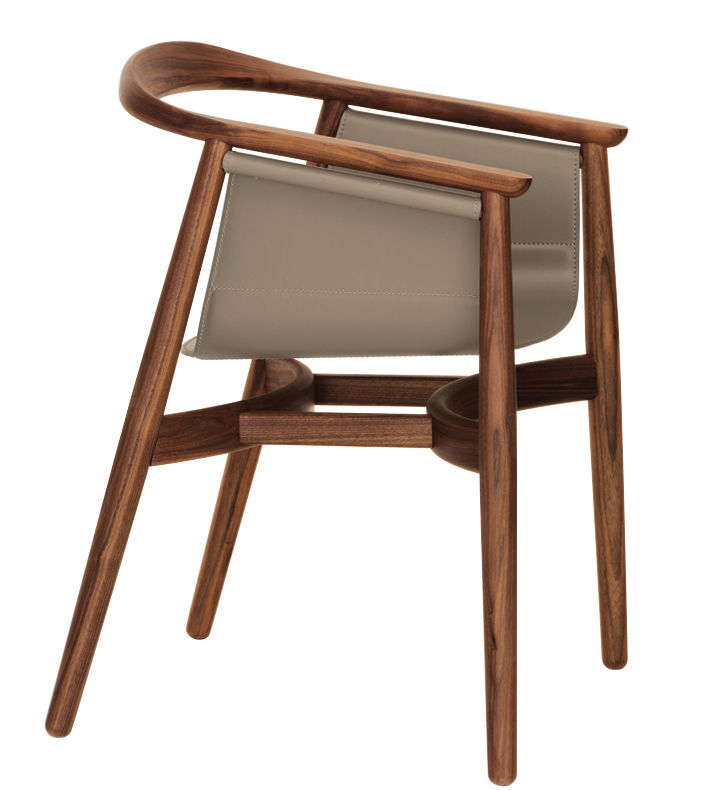 pelle armchair leather walnut structure beige leather seat by zeitraum. Black Bedroom Furniture Sets. Home Design Ideas