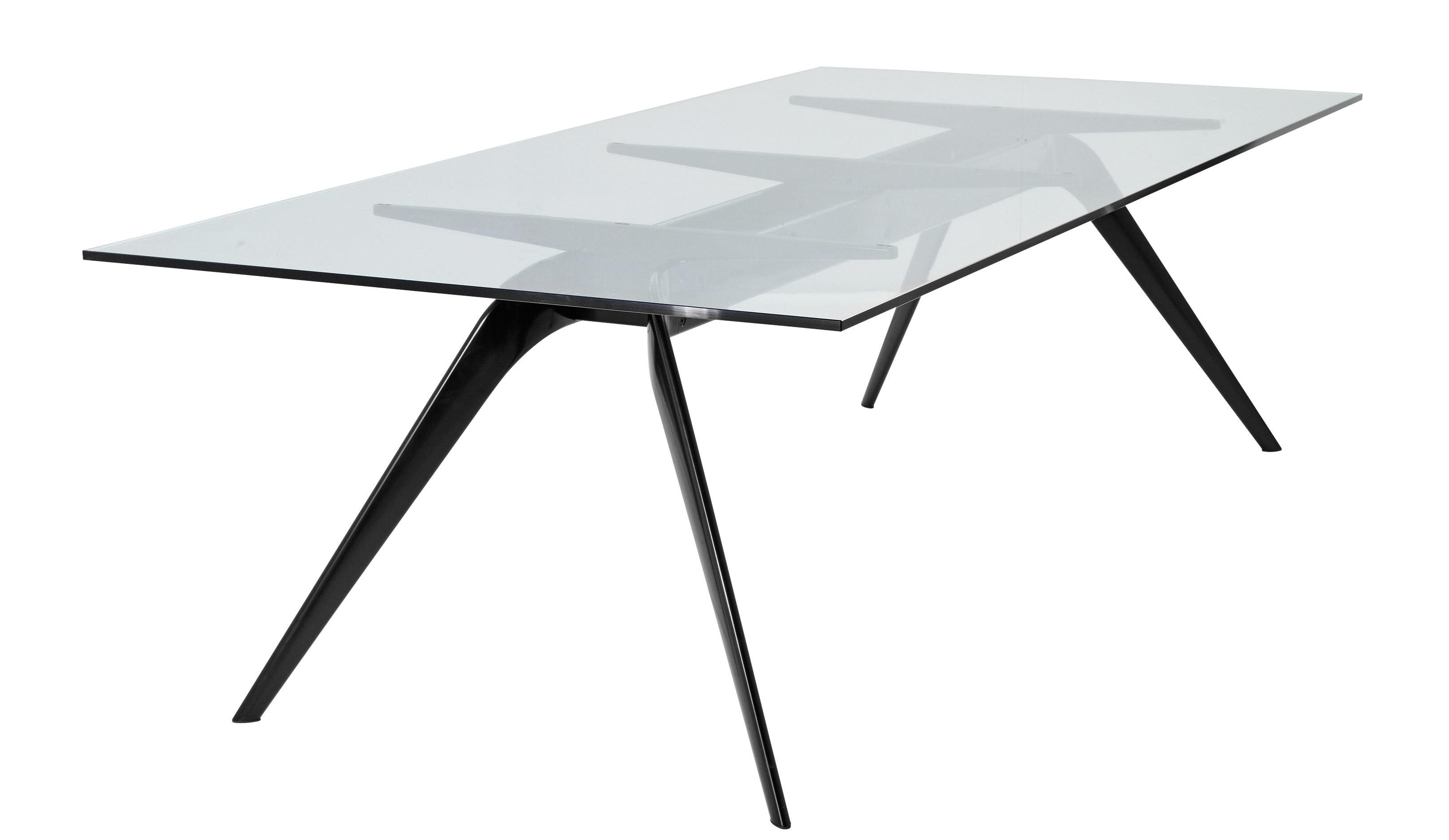 table t no 1 200 x 100 cm 200 x 100 cm pi tement noir plateau verre clair fritz hansen. Black Bedroom Furniture Sets. Home Design Ideas