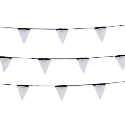 Déco - Pour les enfants - Guirlande lumineuse Sagra LED / 16 fanions tissu - Intérieur & extérieur - Seletti - Guirlande / Noir & blanc - Polycarbonate, PVC, Tissu polyester
