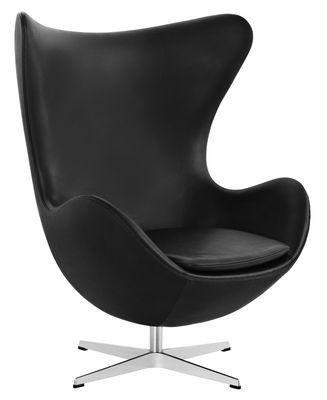 Mobilier - Fauteuils - Fauteuil pivotant Egg chair / Cuir - Fritz Hansen - Noir / Chromé - Aluminium poli, Cuir pleine fleur, Fibre de verre, Mousse de polyuréthane