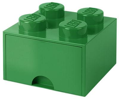 Déco - Pour les enfants - Boîte Lego® Brick / 4 plots - Empilable - 1 tiroir - ROOM COPENHAGEN - Vert - Polypropylène