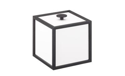 Déco - Boîtes déco - Boîte Frame / 10 x 10 cm - Bois & cadre métal - by Lassen - 10 cm / Blanc & métal noir - Acier laqué, MDF laqué