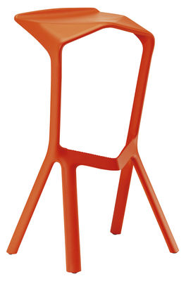 tabouret de bar miura h 78 cm plastique orange plank made in design. Black Bedroom Furniture Sets. Home Design Ideas