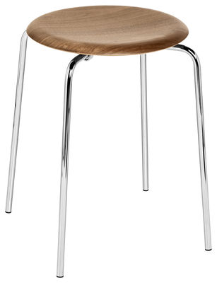 Dot Stackable Stool H 44 Cm Natural Wood Walnut By