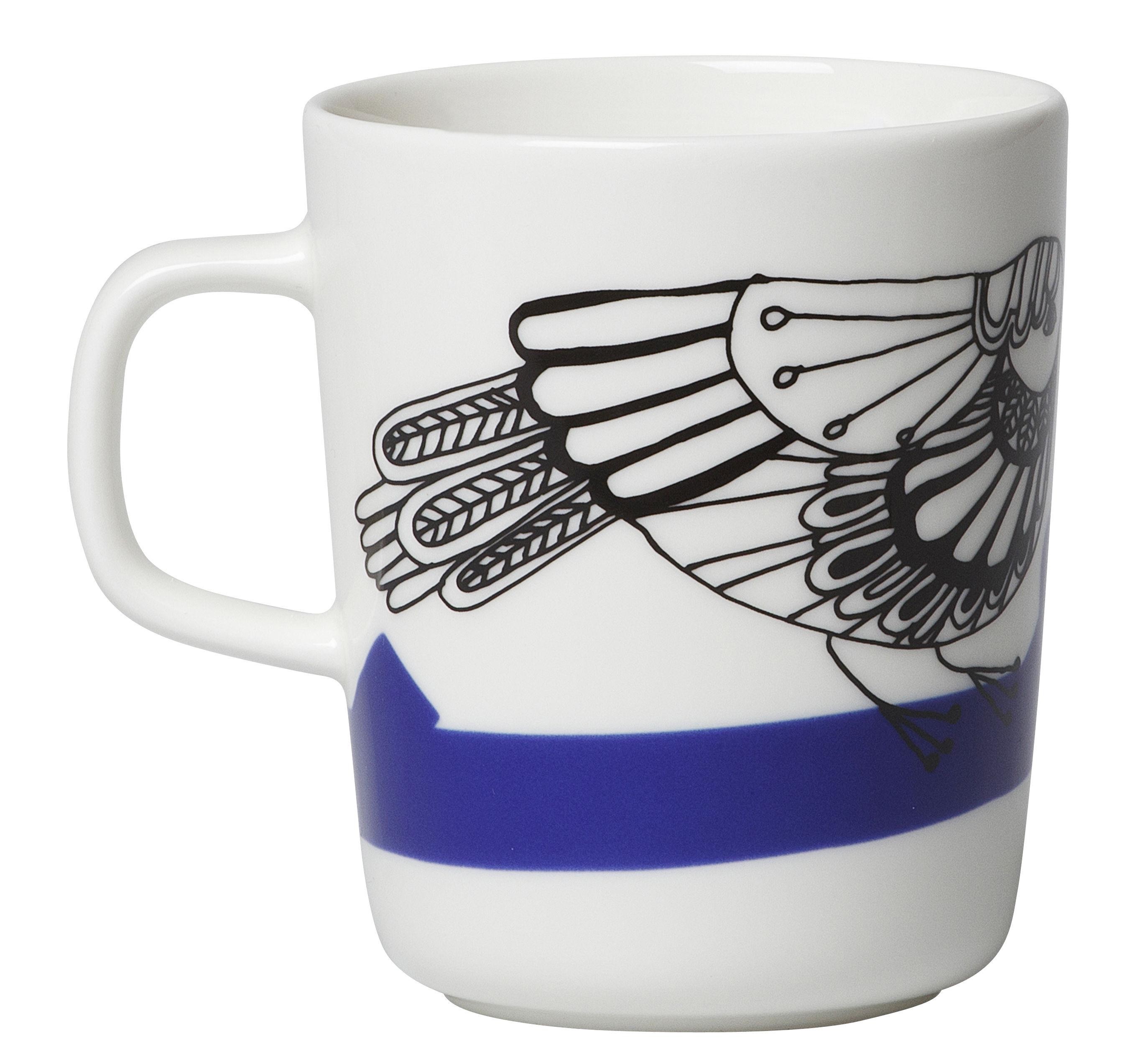 mug pakkanen 25 cl pakkanen blanc bleu et rouge marimekko. Black Bedroom Furniture Sets. Home Design Ideas