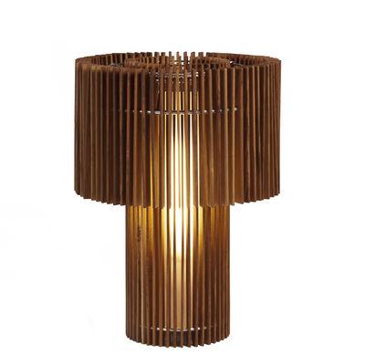 Leuchten - Tischleuchten - Wood Lamp Tischleuchte / mit variablem Lampenschirm - Skitsch - Teak - rostfreier Stahl, Teakholz