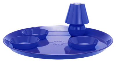 Plateau Snacklight Ø 55 cm / Avec lampe LED aimantée + 3 coupelles - Fatboy bleu en métal