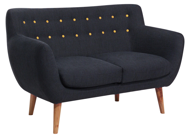 canap droit coogee 2 places l 132 cm noir de jais boutons jaune citron sentou edition. Black Bedroom Furniture Sets. Home Design Ideas