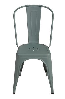 Chaise empilable A Acier Couleur mate texturée Tolix vert lichen mat grainé en métal