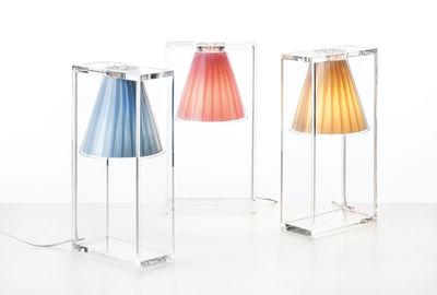 lampe de table light air abat jour tissu tissu beige cadre cristal kartell. Black Bedroom Furniture Sets. Home Design Ideas