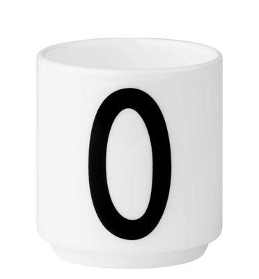 Arts de la table - Tasses et mugs - Tasse à espresso Arne Jacobsen / Porcelaine - Chiffre 0 - Design Letters - Blanc / Chiffre 0 - Porcelaine de Chine