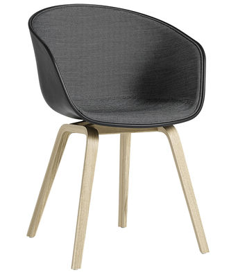 Poltrona imbottita About a chair AAC22 - /Tessuto interno & pieds bois di Hay - Grigio,Nero,Legno naturale - Tessuto