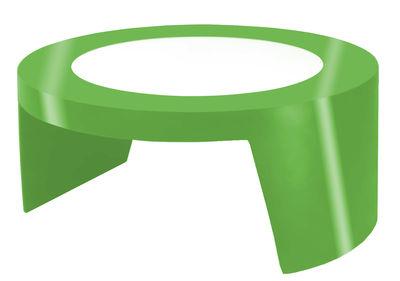 Tavolino Tao di Slide - Verde laccato - Vetro