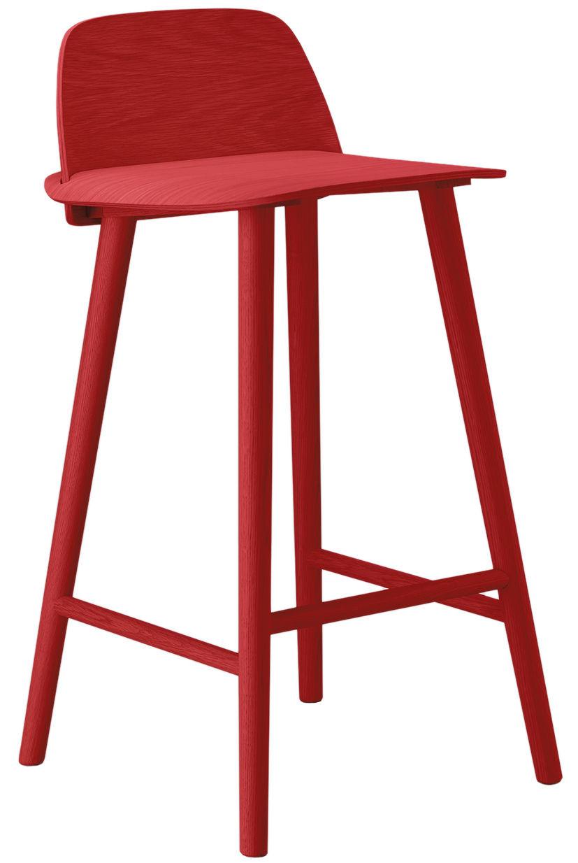 chaise de bar nerd h 65 cm bois rouge muuto. Black Bedroom Furniture Sets. Home Design Ideas