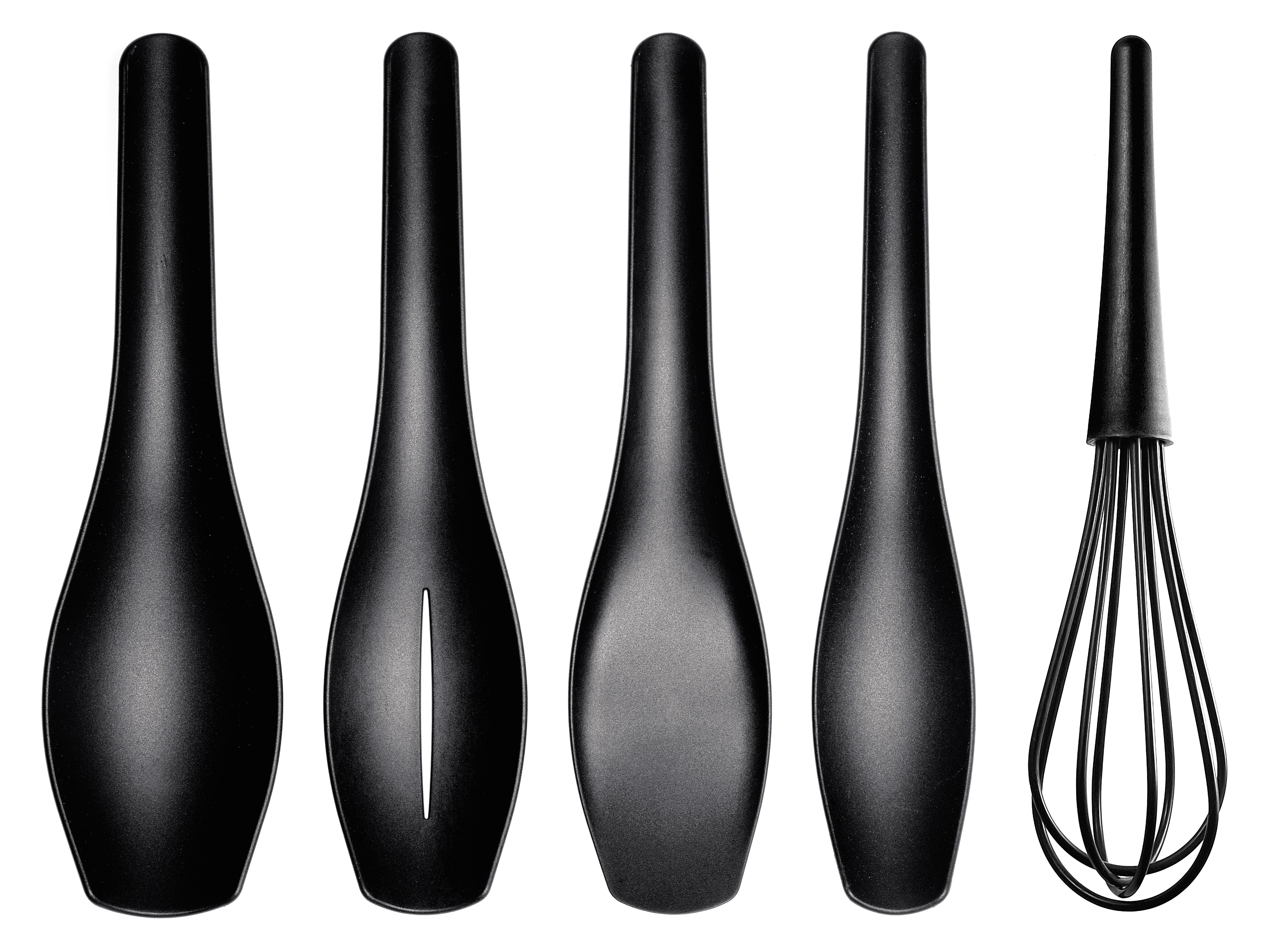 Set ustensiles de cuisine 4 pi ces noir aluminium for Set ustensile de cuisine