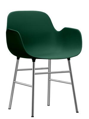 Poltrona Form - / Gamba cromata di Normann Copenhagen - Verde,Cromato - Materiale plastico