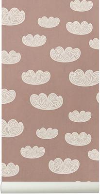 Papier peint Cloud / 1 rouleau - Larg 53 cm - Ferm Living rose pastel en papier