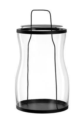 Lanterne Giardino / Fabriquée main - Ø 23 x H 43 cm - Leonardo noir,transparent en métal