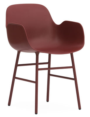 Foto Poltrona Form - / Gambe in metallo di Normann Copenhagen - Rosso - Metallo