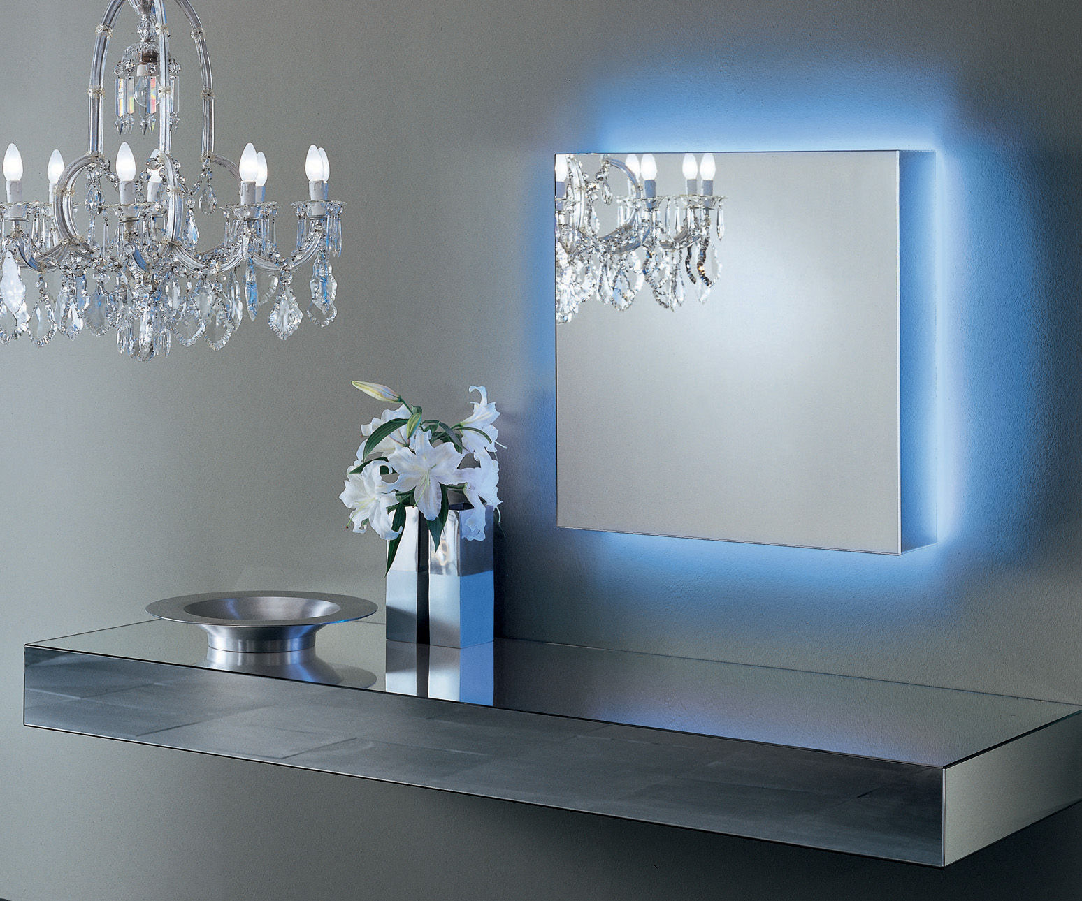 I massi illuminated mirror luminous white light by glas for Miroir collable