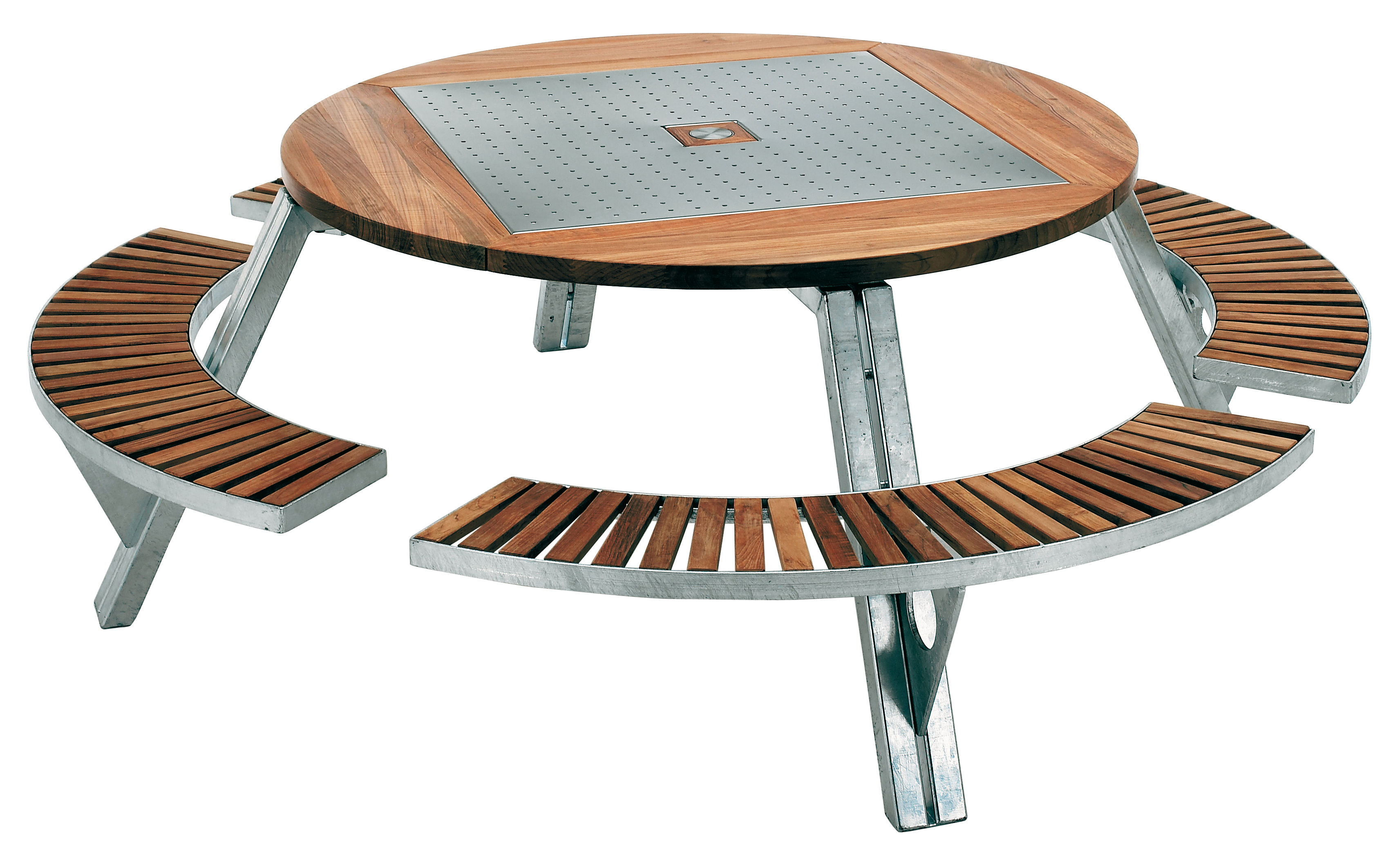 Gargantua Garden Table Adjustable Table And Bench Set Teak Steel By Extremis