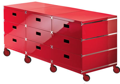 Furniture - Teen furniture - Plus Unit Storage - 9 drawers - On wheels by Magis - Red - with wheels - ABS