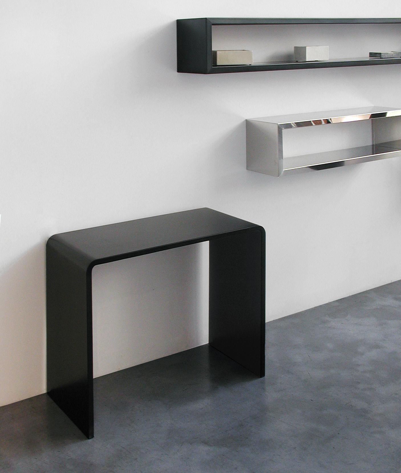 Console Solitaire Bureau L 87 X Prof 42 X H 74 Cm Acier Noir  # Meuble Acier Noir