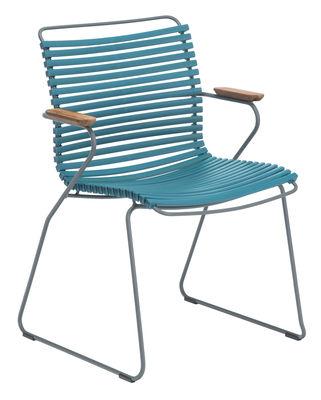 Chaise Click / Plastique & accoudoirs bambou - Houe bleu pétrole en matière plastique