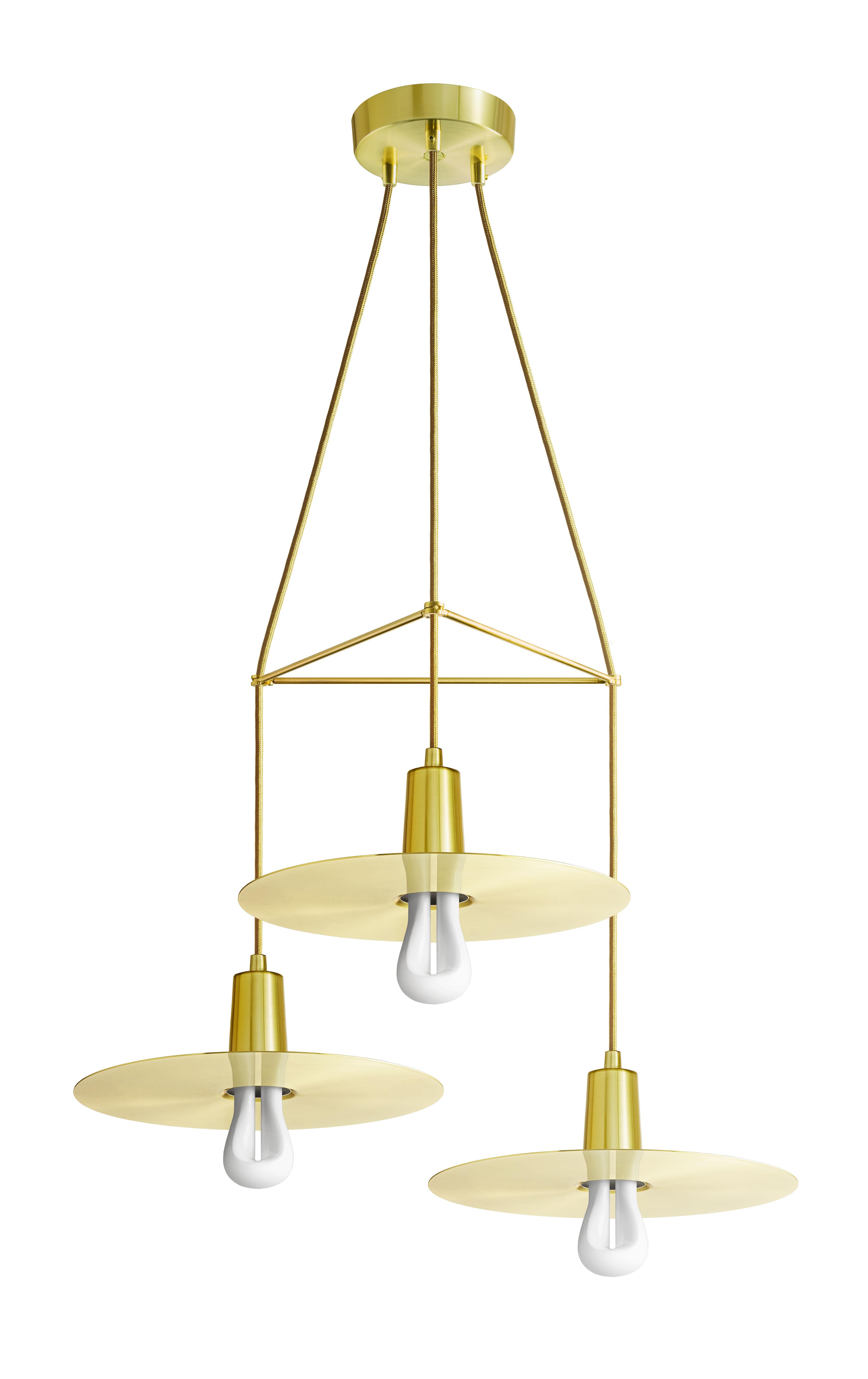 Suspension chandelier drop hat 3 branches ampoules for Suspension luminaire 3 ampoules