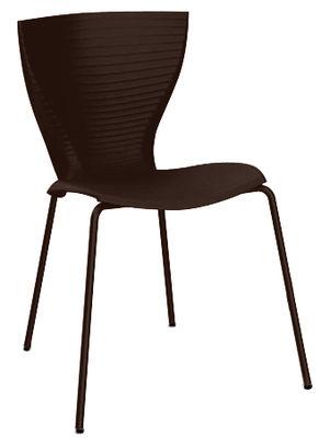 Chaise empilable Gloria / Plastique & pieds métal - Slide moka en matière plastique
