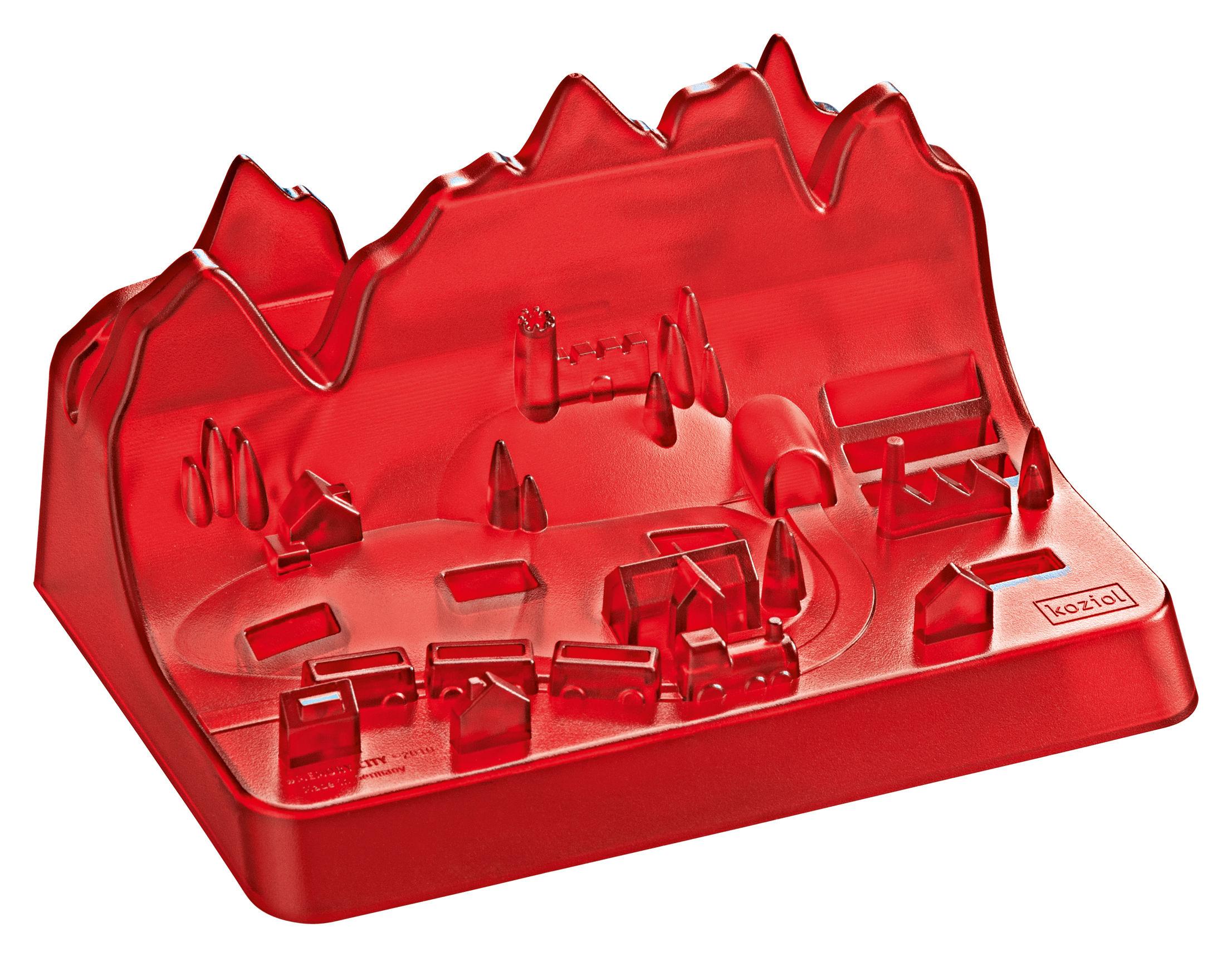 rangement memory city pour cl s usb rouge transparent koziol. Black Bedroom Furniture Sets. Home Design Ideas