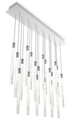 Suspension Multispot Tooby LED / 20 éléments - Fabbian Blanc,Transparent en Verre