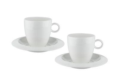 Tasse à café Bravero 6 cl / Set 2 tasses + soucoupes - Alessi blanc en céramique