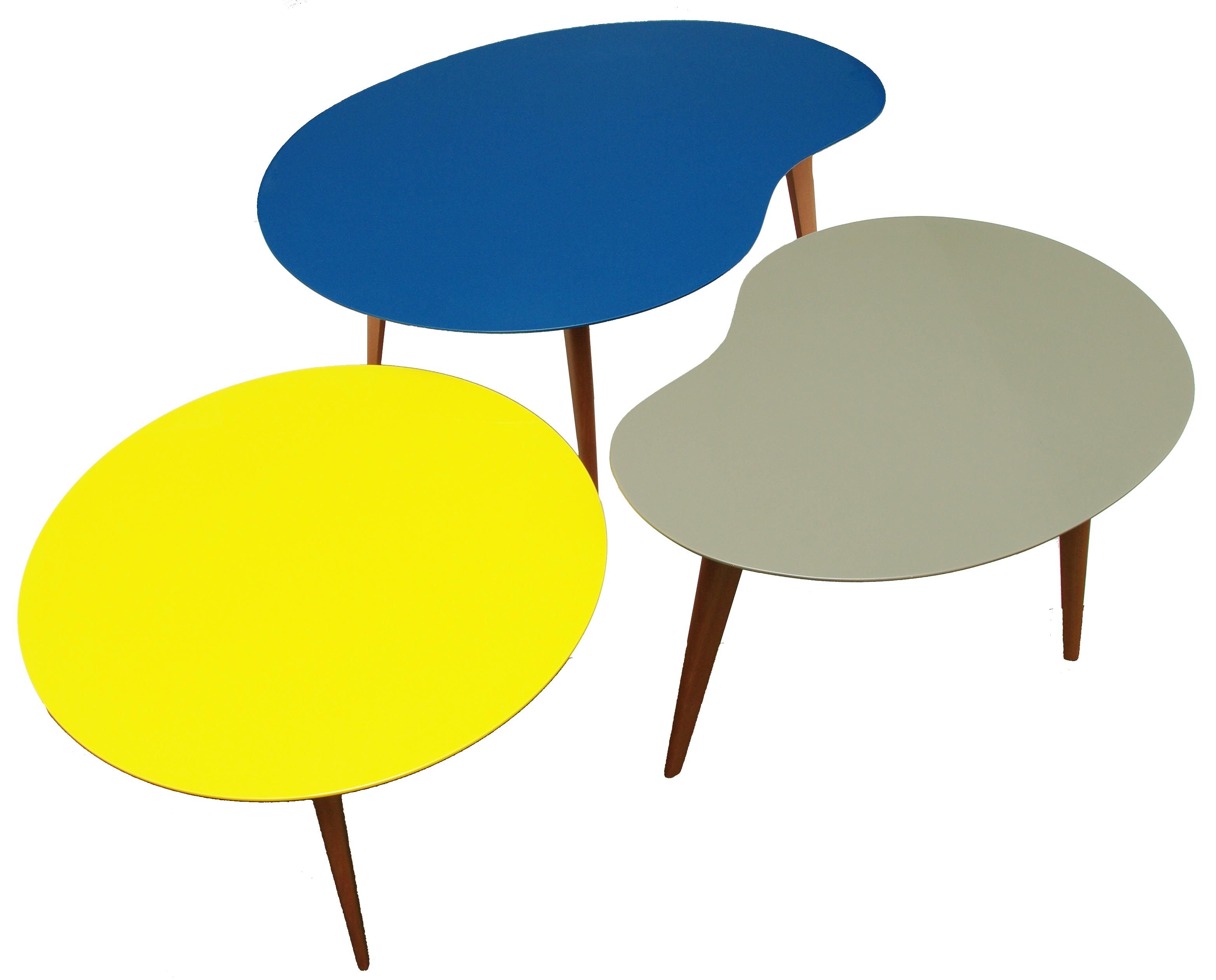 Lalinde Coffee Table Free Form Small Yellow Top Wood