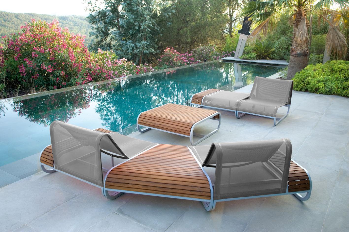 fauteuil tandem version teck accoudoir gauche teck toile blanche ego. Black Bedroom Furniture Sets. Home Design Ideas