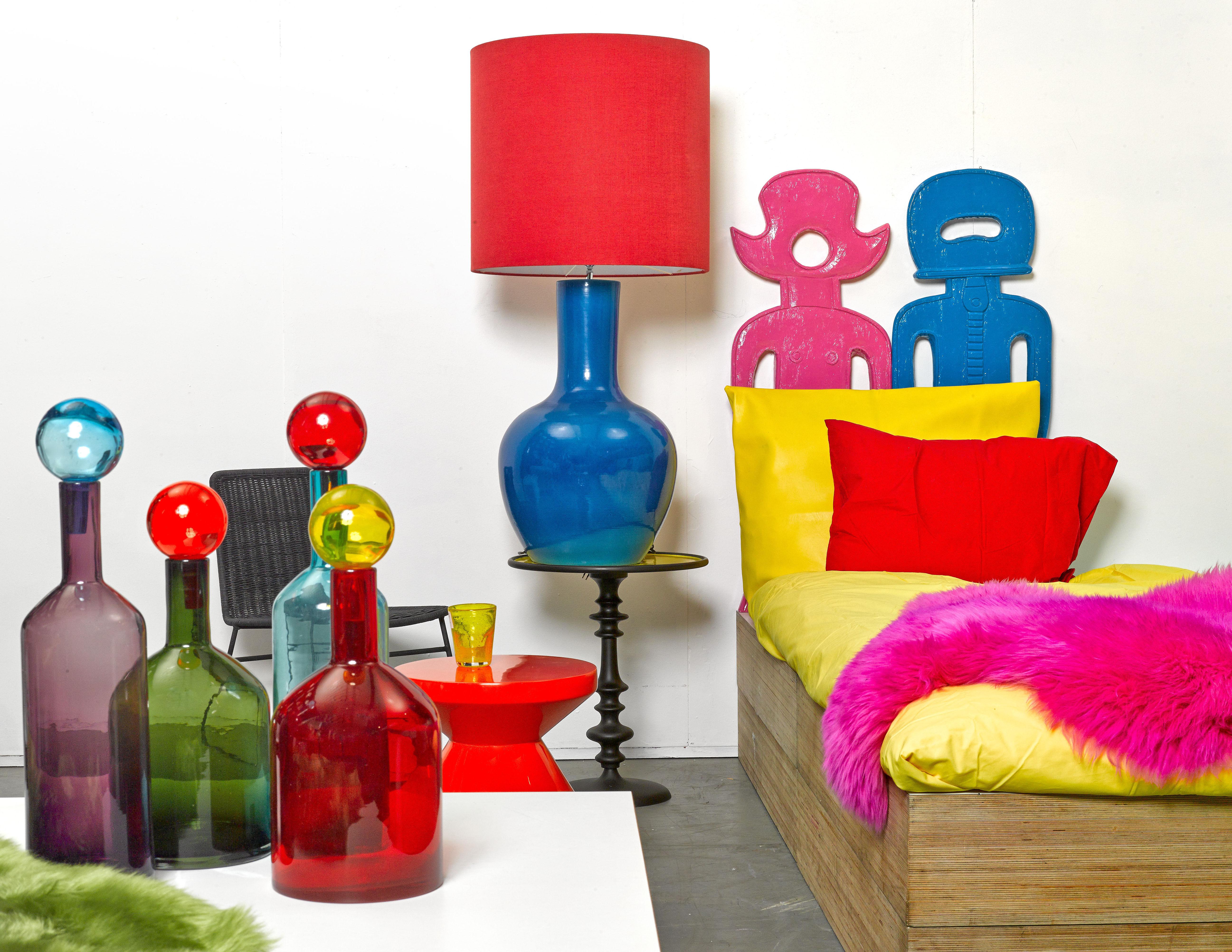 Carafe bubbles bottles verre set de 4 multicolore pols potten for Set de table multicolore