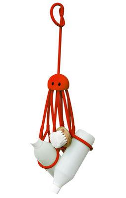 Interni - Bagno  - Portaoggetti Octopus - Piovra per doccia di Pa Design - Rosso - Gomma