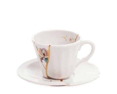 Tasse à café Kintsugi / Set tasse à café avec soucoupe - Seletti blanc,multicolore,or en céramique
