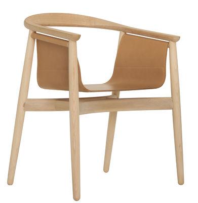 Mobilier - Chaises, fauteuils de salle à manger - Fauteuil Pelle / Cuir - Zeitraum - Structure hêtre naturel / Assise cuir naturel - Cuir, Hêtre massif