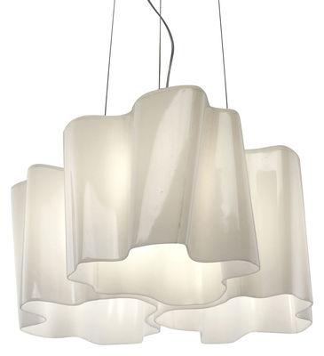 Leuchten - Pendelleuchten - Logico grande Pendelleuchte 3 Elemente x 120° - Artemide - Weiß - groß - geblasenes Glas