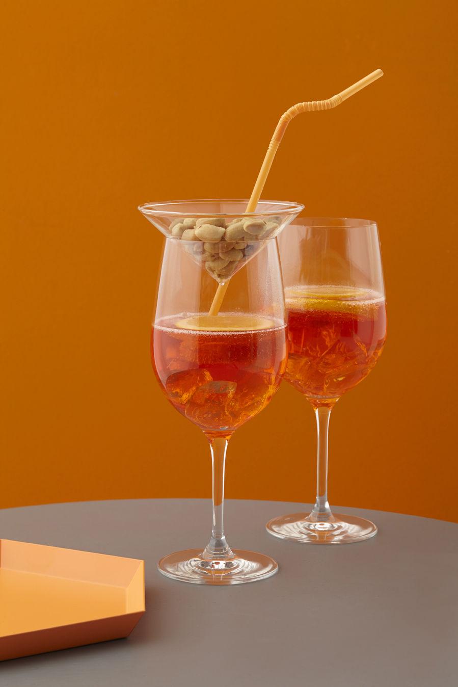 Terrazzo Stemmed Glass Transparent Orange By Leonardo