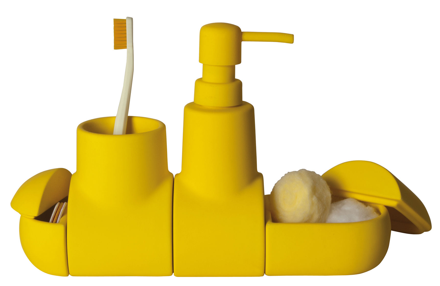 Submarine Accessories Set For Bathroom Yellow By Seletti