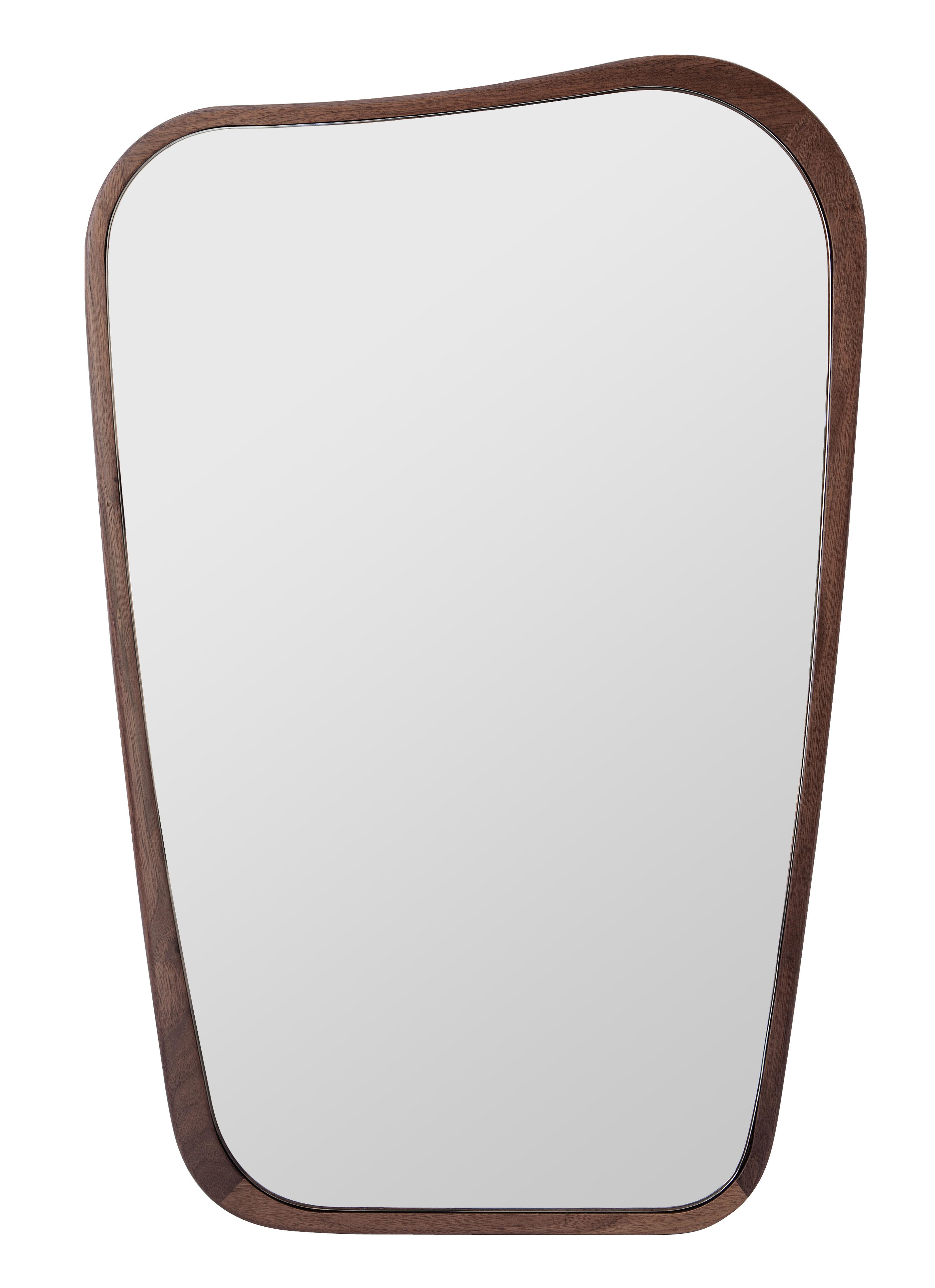 Miroir organique petit 50 x 75 cm noyer maison sarah for Miroir petit