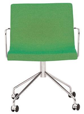 Poltrona a rotelle Bond di Offecct - Verde - Tessuto